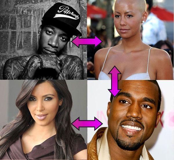 Kapcsolathatározó: Selena, Miley és a többiek közös szerelmei - Wiz Khalifa rapper és Amber Rose épp gyereket várnak, pár éve viszont Amber még Kanye Westtel kavart, aki mellett most Kim Kardashian feszít. Logikus?